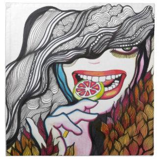 Retrato del chica del Lollipop Servilleta De Papel