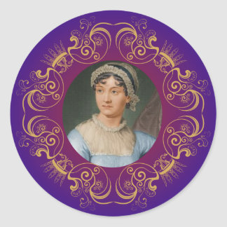 Retrato del color de Jane Austen en marco del Pegatina Redonda