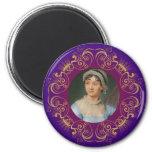 Retrato del color de Jane Austen en marco del remo Imán Redondo 5 Cm