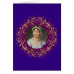 Retrato del color de Jane Austen en marco del remo Felicitacion
