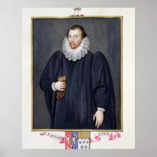 Retrato del coque de Edward (1552-1634) de 'memori Póster