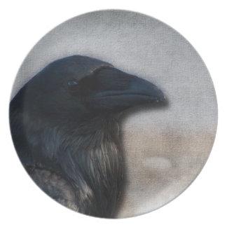 Retrato del cuervo platos para fiestas