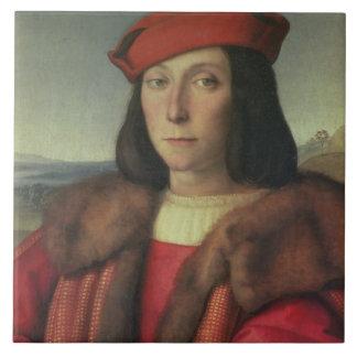 Retrato del della Rovere, duque de Francisco de Ur Azulejo Cuadrado Grande