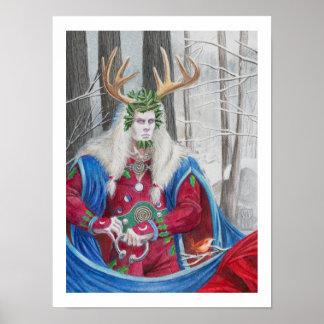 Retrato del detalle del rey céltico del acebo póster