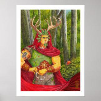 Retrato del detalle del rey céltico del roble póster