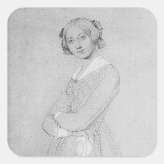 Retrato del d'Haussonville de Louise, 1842 Pegatina Cuadrada