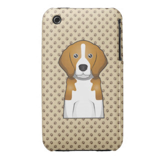Retrato del dibujo animado del beagle iPhone 3 Case-Mate funda