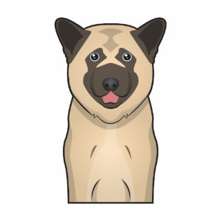 Retrato del dibujo animado del perro de Akita Fotoescultura Vertical