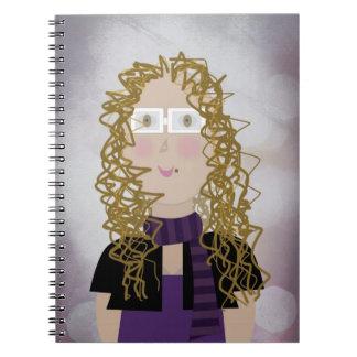 Retrato del dibujo animado libro de apuntes