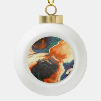 Retrato del dogo francés adorno de cerámica en forma de bola