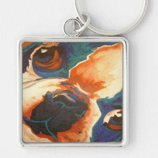Retrato del dogo francés llavero cuadrado plateado