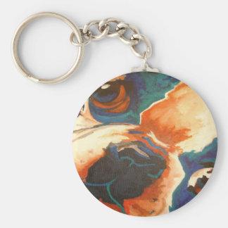 Retrato del dogo francés llavero redondo tipo pin