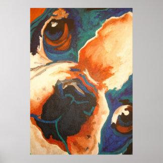 Retrato del dogo francés póster