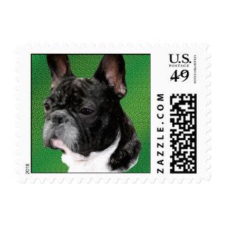 Retrato del dogo francés sello postal