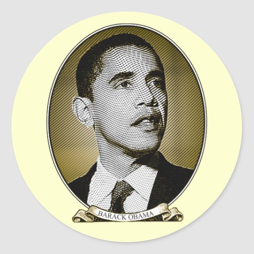 Retrato del dólar de Barack Obama Pegatina Redonda