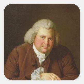 Retrato del Dr. Erasmus Darwin Pegatina Cuadrada