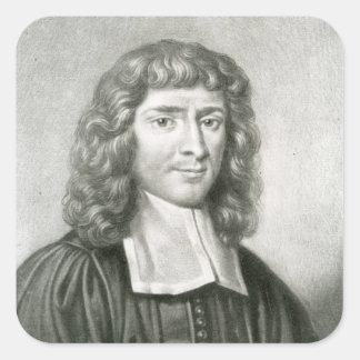 Retrato del Dr. Isaac Barrow Pegatina Cuadrada