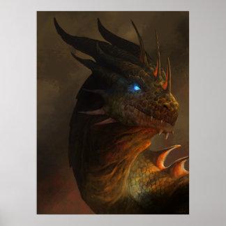 Retrato del dragón póster