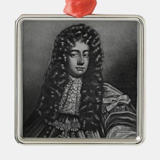Retrato del duque de Henry de Grafton Adorno Navideño Cuadrado De Metal