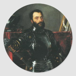 Retrato del duque de Urbino por Titian Pegatina Redonda