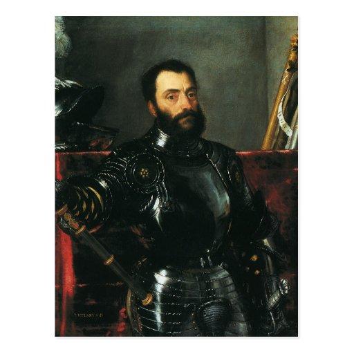 Retrato del duque de Urbino por Titian Tarjeta Postal