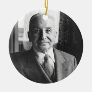 Retrato del economista austríaco Ludwig von Mises Adorno Navideño Redondo De Cerámica