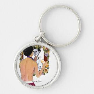 Retrato del EL Espejo del en de Frida Kahlo Llavero Redondo Plateado