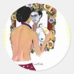 Retrato del EL Espejo del en de Frida Kahlo Pegatina Redonda