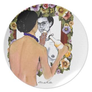 Retrato del EL Espejo del en de Frida Kahlo Plato De Comida