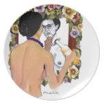 Retrato del EL Espejo del en de Frida Kahlo Platos