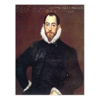Retrato del EL Greco- de un caballero de las casas Tarjeta Postal