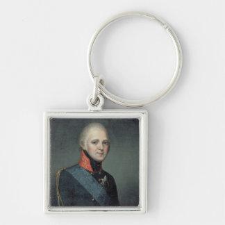 Retrato del emperador Alejandro I, 1804 Llavero Cuadrado Plateado