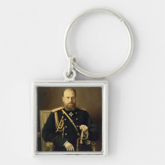 Retrato del emperador Alejandro III 1886 Llavero Cuadrado Plateado
