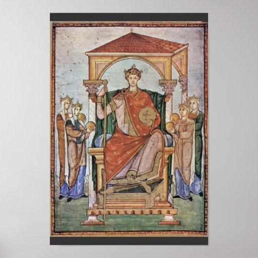 Retrato del emperador Otto Ii, con los símbolos de Poster