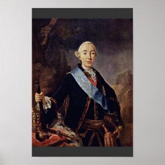 Retrato del emperador ruso Peter Iii. Por Pfan Póster
