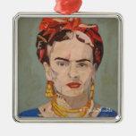 Retrato del en Coyoacán de Frida Kahlo Adorno Navideño Cuadrado De Metal