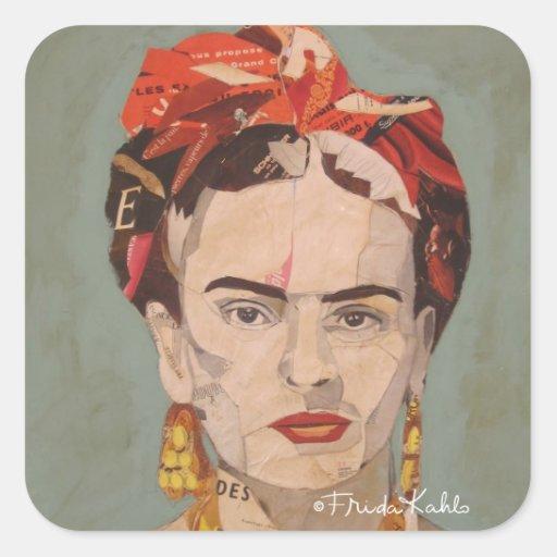 Retrato del en Coyoacán de Frida Kahlo Calcomanía Cuadradas Personalizadas