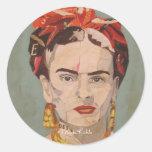 Retrato del en Coyoacán de Frida Kahlo Pegatina Redonda