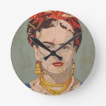 Retrato del en Coyoacán de Frida Kahlo Reloj Redondo Mediano