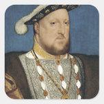 Retrato del Enrique VIII de Inglaterra de Hans Calcomanía Cuadradas