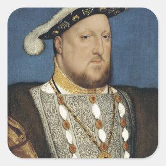 Retrato del Enrique VIII de Inglaterra de Hans Pegatina Cuadrada