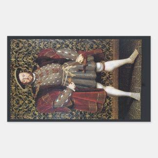 Retrato del Enrique VIII Pegatina Rectangular