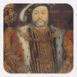 Retrato del Enrique VIII Pegatina Cuadrada