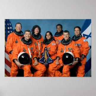 Retrato del equipo de Columbia del transbordador e Poster