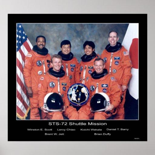 Retrato del equipo de la misión de la lanzadera ST Póster