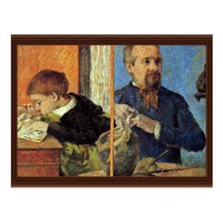 Retrato del escultor Aubé y de su hijo Tarjetas Postales