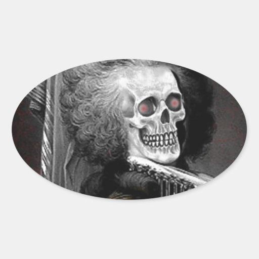Retrato del espíritu necrófago de Halloween Pegatina Ovalada