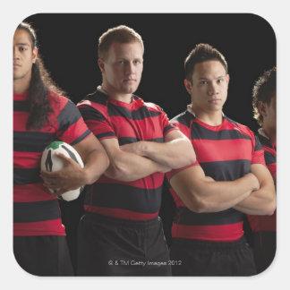 Retrato del estudio del equipo masculino del rugbi pegatina cuadrada