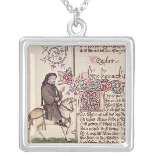 Retrato del facsímil de Geoffrey Chaucer de Colgante Cuadrado