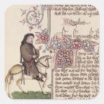 Retrato del facsímil de Geoffrey Chaucer de Pegatina Cuadrada